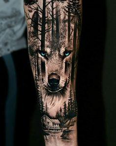 Animal Sleeve Tattoo, Tree Sleeve Tattoo, Nature Tattoo Sleeve, Best Sleeve Tattoos, Tattoo Sleeve Designs, Animal Tattoos, Tattoo Designs Men, Wolf Tattoos Men, Daddy Tattoos