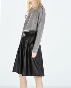 ZARA - NEW THIS WEEK - FAUX LEATHER LAYER SKIRT