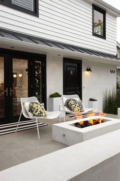 modern concrete outdoor fire pit