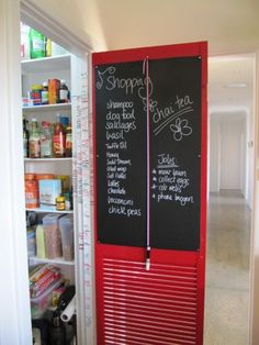 "Cool idea for inside a cupboard / pantry / closet door.  I'd probably go with a whiteboard...I hate the chalk dust.  ""Lollies""?"