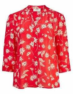 Pyrus Ava silk blouse - red / ecru simple flowers - The Ava blouse from Pyrus comes in an ecru and indigo floral print on a striking coral red base. Clothes For Sale, Dresses For Sale, Dress Outfits, Fashion Dresses, Blouses Uk, Feather Stitch, Pyrus, Blouse Dress, Floral Tops
