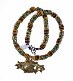 Ashanti pendant with Powder Glass Beads