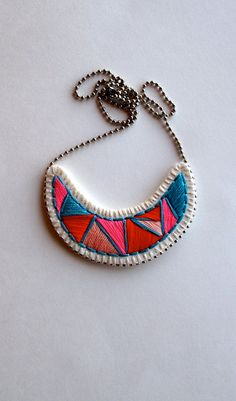 #Embroidered #jewelry #geometric crescent by AnAstridEndeavor on @Etsy