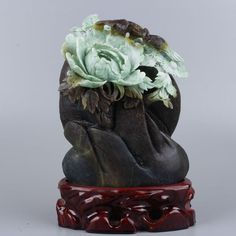 Very Exquisite natural dushan jade hand-carved birds with flowers statue