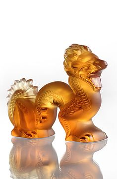 Lalique Small Amber Dragon