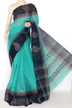 Green Black Handwoven Bengali Tant Cotton Saree (Without Blouse) 14229 Simple Sarees, Trendy Sarees, Stylish Sarees, Cotton Saree Designs, Saree Blouse Neck Designs, Indian Attire, Indian Outfits, Bengal Cotton Sarees, Cotton Sarees Handloom