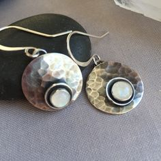 Oxidized Sterling Silver earrings with Moonstone