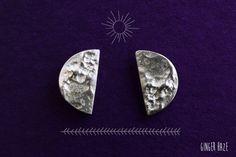 Half Lunar Moon Phase Silver Stud Post Earrings Navajo Boho Hippie Jewellery Jewelry by GingerHazeJewellery
