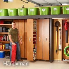 Garage Storage: Space-Saving Sliding Shelves complete with shopping list and step by step directions!