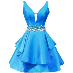 Icy Sun Women's V Neck Crystals Homecoming Dresses A Line Satin Short... ($68) ❤ liked on Polyvore featuring dresses, gowns, v neck homecoming dress, blue evening gown, short blue dress, satin ball gown and a-line dresses
