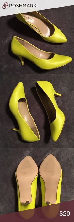 """Neon Yellow Kitten Heel Pumps Fresh and fun, these neon yellow pumps by Call It Spring will add a bright pop of color to your outfit! 2.5"""" heel gives you a little height but is more comfortable than stilettos. Minor wear on soles and heels, but overall in great condition. ❌No trades Call It Spring Shoes Heels"""