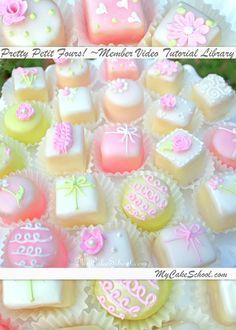 In this cake decorating video tutorial, you will learn how to make petit fours! These beautiful, tiny cakes are not difficult to make if yo. Cake Decorating Videos, Cookie Decorating, Tea Cakes, Cupcake Cakes, Mini Cupcakes, Coconut Cupcakes, Cheesecake Cupcakes, Cupcakes Flores, Petit Cake