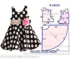 Risultati immagini per vestidos infantis Kids Dress Patterns, Baby Clothes Patterns, Clothing Patterns, Sewing Patterns Girls, Pattern Sewing, Baby Outfits, Kids Outfits, Dress Outfits, Kids Frocks