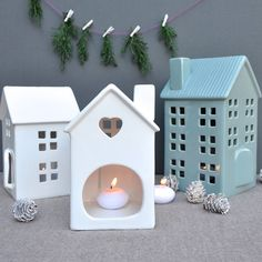 House Tea Light And Candle Holder - christmas home accessories Clay Houses, Ceramic Houses, Christmas Crafts To Make, Christmas Home, Xmas, Ceramics Projects, Clay Projects, Diy Clay, Clay Crafts