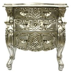 If this was by bedside table, I would put treasures in it.  (Rococo Bedside Table by Fabulous & Baroque)