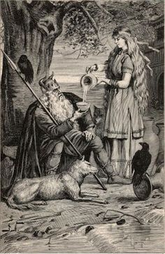Odin being given a drink by a goddess, possibly Frigg.