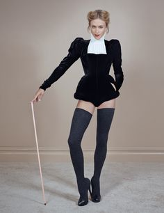 Chloe Sevigny in November TOWN&COUNTRY. #black #white #thighhighs #stockings thigh highs