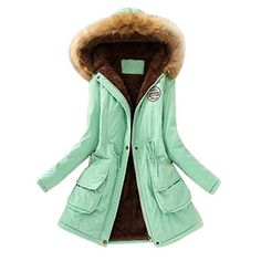 Fullfun Womens Warm Faux Fur Collar Long Hooded JacketSlim Winter Parka Outwear Coats XL green -- Continue to the product at the image link. (This is an affiliate link)