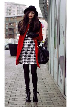 red lips, red coat