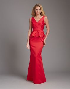 Structured, crisp satin is the perfect medium for a peplum silhouette, causing the subtle tucks and ruffles hold their shape perfectly.