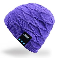 Mydeal Rechargeable Bluetooth Audio Beanie Fashional Double Knit Skully Hat Cap w Wireless Stereo Headphone Headset Earphone Speakerphone Mic for Sports Skating Hiking Camping Christmas Gift Purple -- Continue to the product at the image link.