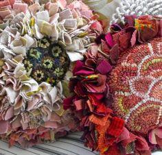 Flower Pillows PDF Aster and Rosebud on Etsy by Primitive Spirit