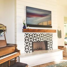 Black and white cement tile Fireplace with shiplap for my modern house! House Design, House, Home, Fireplace Tile Surround, Fireplace Design, New Homes, Interior Design, Fireplace, Living Room Designs