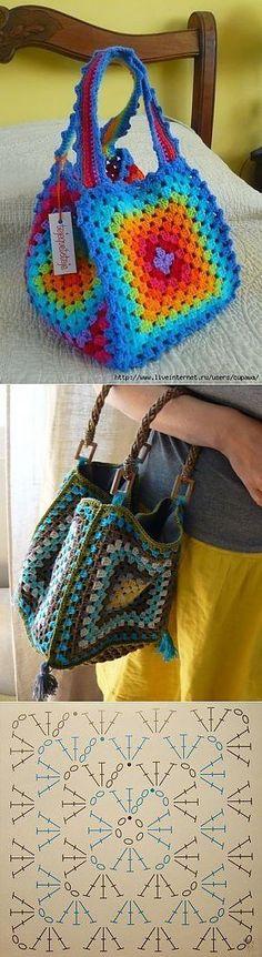 Crochet Granny Square Bag Pattern New Ideas Bag Crochet, Crochet Pillow, Crochet Handbags, Crochet Purses, Crochet Granny, Crochet Gifts, Crochet Jacket, Free Crochet, Granny Square Bag