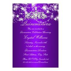 red silver diamond tiara photo quinceanera invitation bling