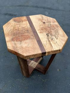 Figured Maple and Walnut End Table, Large Wood Side Table, Floating Wood Table, Rustic Accent Table Rustic Accent Table, Wood Table Rustic, Farmhouse Table, Slab Table, Walnut Table, Walnut Wood, Woodworking Inspiration, Live Edge Wood, End Tables