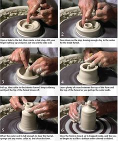 Most ceramic salt and pepper shakers require a stopper of some sort – usually cork – to keep the contents in. But there is a way to make them without stoppers. Just throw a double-walled vessel, but instead of joining the inner and outer walls, form a funnel with the inner wall. In today's... Read More »