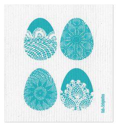 """Schwammtuch """"Ostern"""" (türkis). Das bedruckte Schwammtuch ist ein Naturprodukt und einfach in der Waschmaschine zu reinigen. Es verfärbt nicht, hat eine lange Lebensdauer und ist kompostierbar. Produziert in Deutschland. 20 cm x 22 cm. 70% Viskose, 30% Baumwolle. - Erhältlich bei: http://shop.hokohoko.com"""