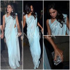 The lovely Mira Kapoor was snapped at a Diwali Party last night looked elegant in a powder blue mirror embellished saree by Anita Dongre. Celebrity Weddings, Celebrity Style, Peach Saree, Anita Dongre, Desi Clothes, Night Looks, Bollywood Fashion, Indian Sarees, Latest Fashion Trends