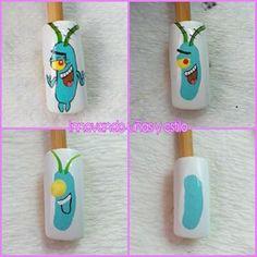Hola mis hermosas de nuevo por aquí con un personaje de Bob esponja. Cute Nail Art, Cute Acrylic Nails, Nail Art Diy, Easy Nail Art, Cute Nails, Cartoon Nail Designs, Diy Nail Designs, Neon Green Nails, Nail Drawing
