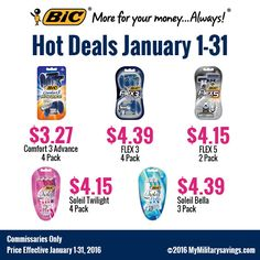 BIC® Razor Savings  Save on Comfort 3 Advance, FLEX 3, FLEX 5, Soleil Twilight, and Soleil Bella!
