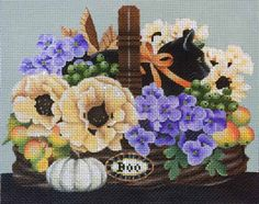 Melissa Shirley Designs | Hand Painted Needlepoint | Petite Halloween Basket
