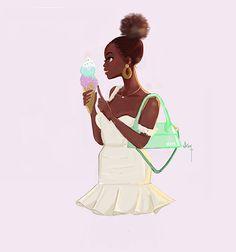 La Glace Black Women Art, Black Women Fashion, Black Art, Black Girls, Womens Fashion, Female Art, Female Models, Beautiful Curves, Beautiful Women