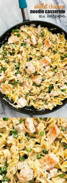 This Skillet Chicken Noodle Casserole dinner recipe from Real Housemoms is so deliciously creamy. It's the perfect 30 minute meal for a busy night when you don't have a ton of time to cook dinner.