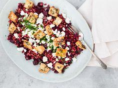 Farro, Beet and Feta Salad on christelleisflabbergasting,com