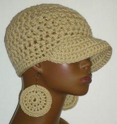 Oatmeal Crochet Baseball Cap and Earrings by Razonda Lee