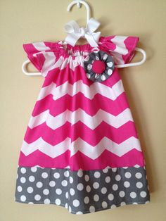 Easter Baby Girl Pink Chevron and Gray Polkadot Peasant Dress with Matching Hair Bow- 0 to 3 months - 6M - 12M - 18M - 2T - 3T - 4T, $33.00