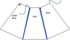 Use the pattern to cut three trapezoids out of your favorite fabric, then sew the trapezoids together at two seams as shown in the diagram along the blue lines.