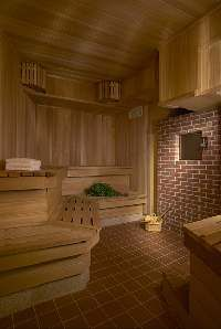"""OKEANOS' authentic cedar wood Russian banya, """"thermostat was set at 168 degrees f. Sauna Steam Room, Boutique Spa, Spa Rooms, Birch Branches, Inside Me, Hot Springs, Saunas, Relax, Building"""