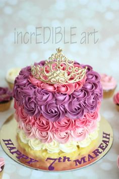 Tiara on an IMBC frosted cake with colourful rosettes