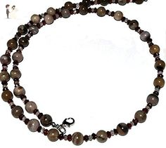 Beaded petrified wood garnet quartz necklace; natural gemstones, multi color; Handcrafted in Washington State. - Wedding nacklaces (*Amazon Partner-Link)