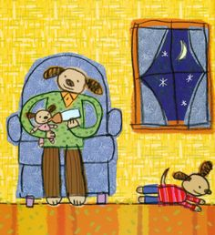 Cuando llega la noche y la luna y las estrellas aparecen en el cielo, es hora de dormir. Este cuento es sobre el ritual que celebra una familia a diario para irse a la cama, todos se van despidiendo mientras van apagando las luces. Pero los miedos infantiles nocturnos llegan y Pablo, el hijo mayor quiere dormir en la cama de sus papás... #LIJ #lectura #miedos #dormir Ilustración de Elliot Kreloff para la obra de Harriet Ziefert ¡Mamá, quiero dormir en tu cama!   www.canallector.com