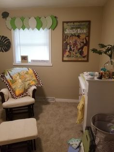 Jungle themed nursery featuring Disney's The Jungle Book and The Lion King