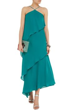 Tiered silk crepe de chine gown | Halston Heritage | US | THE OUTNET