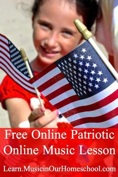 """Free Online Patriotic Music Lesson to help your kids learn some of America's greatest songs! Also, find a printable pack for """"The Star-Spangled Banner."""" Find copywork of the first verse of America's National Anthem plus coloring pages and more. Online Music Lessons, Music Lessons For Kids, Music Lesson Plans, Music For Kids, Piano Lessons, American Patriotic Songs, Patriotic Songs For Kids, Music Courses, Music Express"""