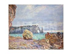 Etretat, Beach and Falaise D'Aval, 1884 Giclee Print by Claude Monet at Art.com